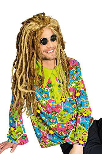Partyhemd Hippiehemd Peace + Lennonbrille Nickelbrille - Peace Out Hippie Kostüm