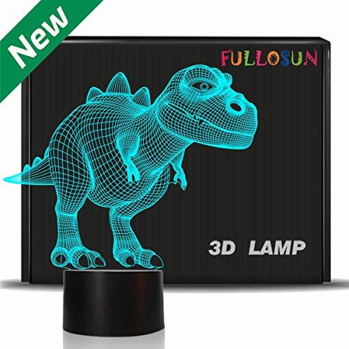 Nachtlicht für Kinder Dinosaurier T-rex 3D Nachtlicht Nachttischlampe 7 Farbwechsel Weihnachten Halloween Geburtstagsgeschenk Spielzeug für Kind Baby Boy (T-Rex)