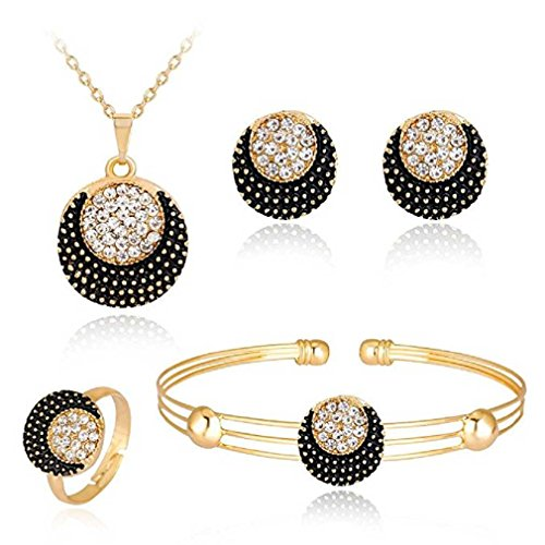 Liquidazione offerte, fittingran liquidazione offerte 4 pezzi gioielli set donne personalità strass collana bracciale anello orecchini gioielli regalo romantico (m)