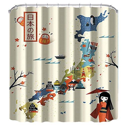 nymb Travel Japan Karte 175,3x 177,8cm Schimmelresistent Polyester Stoff Duschvorhang Set Fantastische Dekorationen Bad Vorhang