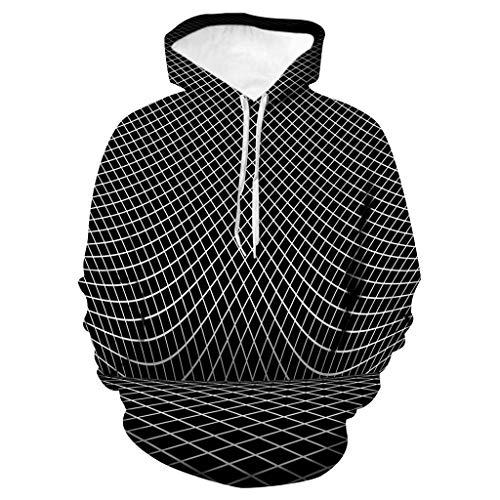 Xmiral Kapuzenpullover Herren 3D Drucken Hoodie Tops Große Größe Pullover Sweatshirt Langarm Tunnelzug Tasche Streetwear Oberteile(b Schwarz,XL)