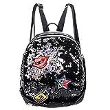 LUOEM Damen Pailletten Rucksack mini Daypacks Umhängetasche Schultertasche PU Leder für Mädchen Frauen (Schwarz)