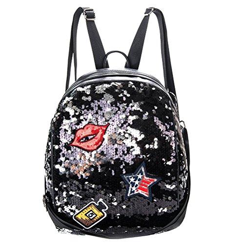 Tinksky Pailletten Paillette Rucksack Lässig Daypacks Bling Umhängetasche Umhängetasche Schultasche Handtaschen für Mädchen Frauen (Schwarz)