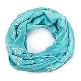 MANUMAR Loop-Schal für Damen | Hals-Tuch in hellblau mit Sterne Motiv als perfektes Herbst Winter Accessoire | Schlauchschal | Damen-Schal | Rundschal | Geschenkidee für Frauen und Mädchen