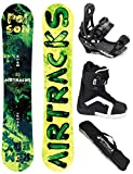 AIRTRACKS SNOWBOARD SET / POISON SNOWBOARD WIDE ROCKER + SOFTBINDUNG SAVAGE + BOOTS + SB BAG / 150 160 / cm