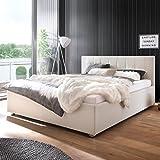 moebelfrank Polsterbett Kunst-Lederbett Weiß 180x200 cm Doppelbett Bettgestell Komforthöhe Mainz-2