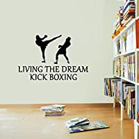 haochenli188 Living The Dream kick boxing Quotations Wall   sticker sport Fighting MMA Boxing Decal Taekwondo Martial Sport Gym dorm poster 56x38cm