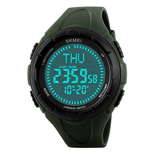 Orologi digitali impermeabili da uomo/Conto alla rovescia orologio bussola/All'aperto sport utilità watch-A