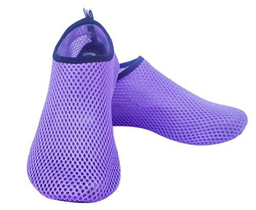 Feoya Unisexe Chaussures de Sport Aquatique Plage Plongée Natation Beach Surf Acquabike Antidérapant Maille Eté Séchage Rapide Femme Homme 11 Couleurs Violet