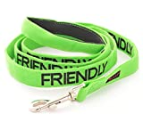 FRIENDLY (Known as Friendly to all) Green Colour Coded 60cm 1.2m 1.8m Luxury Neoprene Padded Handle Dog Leads PREVENTS Accidents By Warning Others Of Your Dog In Advance (1.2m)