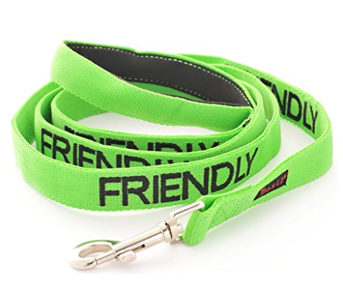FRIENDLY (Known as Friendly to all) Green Colour Coded 60cm 1.2m 1.8m Neoprene Padded Handle Dog Leads PREVENTS…