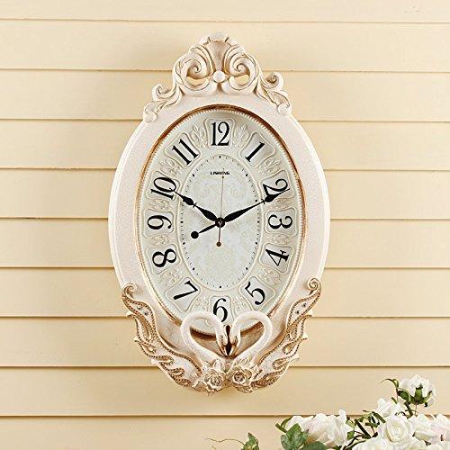 OLILEIO Swan Retro Watch Jardin Salon européen de l'art muet Horloge murale Horloge Quartz,20 pouces (50,5 cm de diamètre),Crack bord doré