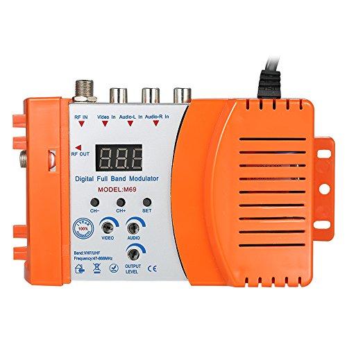 KKmoon Modulatore RF Compatto Audio Video TV Converter Amplificatore di Segnale UHF RHF AC230V