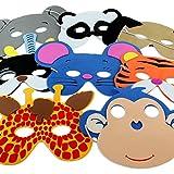 12x Kindermaske Kindergeburtstag Tiermaske Theater Maske Karneval Moosgummi