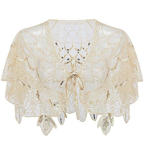 ArtiDeco Damen Umschlagtücher für Abendkleid 1920s Retro Schal Hochzeit Party Braut Schal Gatsby Kostüm Accessoires (Beige)