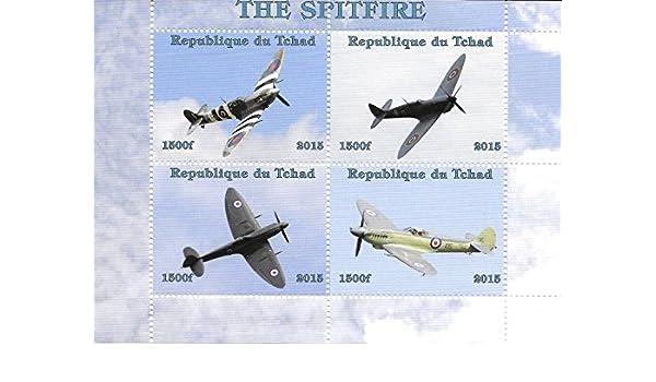 Francobolli da Collezione Spitfire aerei aerei da guerra MNH Miniatura foglio 2015 Chad