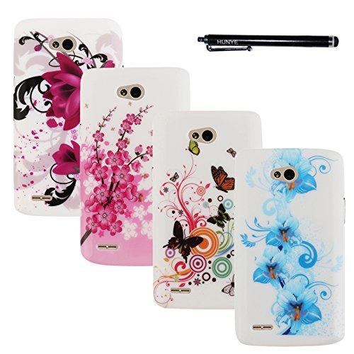 Hunye 5in1 buntes Zubehör Set: 4 x TPU Schutzhülle Tasche für LG L80 Hülle Case Blumen Muster und mehr Cover Schale Etui + 1 x Stylus