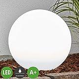 Lampenwelt LED Solar Kugelleuchte für Außen 'Lago' (spritzwassergeschützt) (Modern) in Weiß (2 flammig, A+, inkl. Leuchtmittel) | Garten, draußen, Kugellampe mit Erdspieß, Kugel
