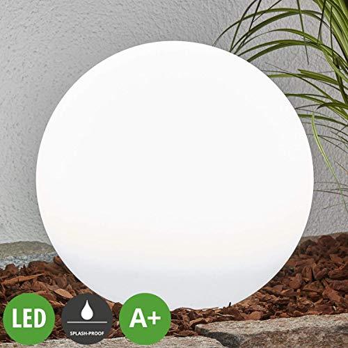 """Lampenwelt LED Solar Kugelleuchte für Außen """"Lago"""" (spritzwassergeschützt) (Modern) in Weiß aus Kunststoff (2 flammig, A+, inkl. Leuchtmittel)   Garten, draußen, Kugellampe mit Erdspieß, Kugel Gartenkugel Dekorationsleuchte, Solarlampe"""