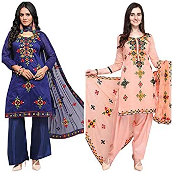 EthnicJunction Women's Cotton Mirror Work Dress Material (Blue, Misty Rose, Free Size) - Pack of 2