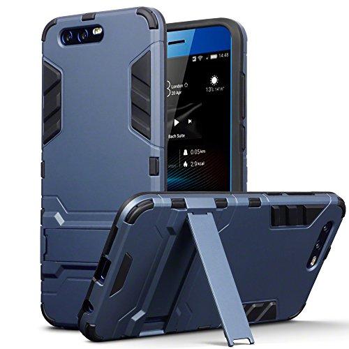 TERRAPIN, Kompatibel mit Huawei Honor 9 Hülle, Silikon + Polycarbonat Tasche mit Standfunktion - Dunkelblau