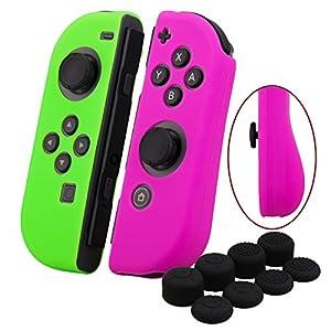 YoRHa Handgriff Silikon Hülle Abdeckungs Haut Kasten für Nintendo Switch/NS/NX Joy-Con controller x 2(dunkel pink+grün) Mit Joy-Con aufsätze thumb grips x 8