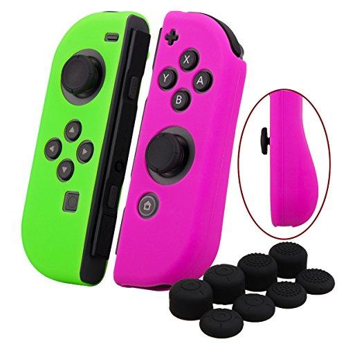 YoRHa Empuñadura silicona caso piel Fundas protectores cubierta para Nintendo Switch/NS/NX Joy-Con Mando x 2 (Rosa oscuro+verde) Con Joy-Con los puños pulgar thumb gripsx 8