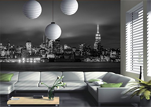 New York City Skyline Manhattan Nacht Fototapete Wandbild Deco, papier, XXL-390x260cm Black
