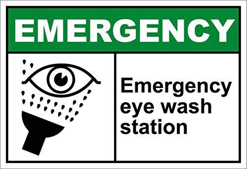 Monsety Dekoschild für Notfall mit Augen und Waschstation aus Metall für den Außenbereich, Innenbereich, Hofzaun, Schild