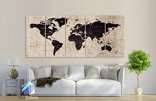 canvas print XL 30x 705Elementen Kunstdruck Leinwand Textur Karte Welt Städte Push Pin Travel Wall Braun Beige Decor Home Interior gerahmt - Interior Wall Panels