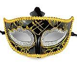 Karnevalsmaske Schwarz mit Glitzerverzierungen - Venizianische Ballmaske Partymaske Maske Karneval Fasching Party Ball Silvester