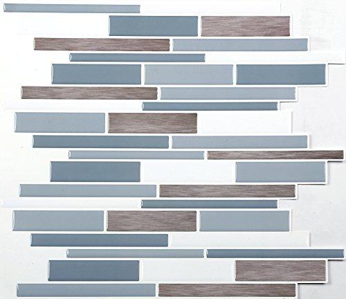 4-er Packung 3D Gel Mosaic Effekt Aufkleber. Selbstklebend und im Hellblau, dunkelblau, weiß und braun holz effekt. 28.5 cm x 25.4 cm Selbstklebendes Vinyl-Mosaik (3D0007) -