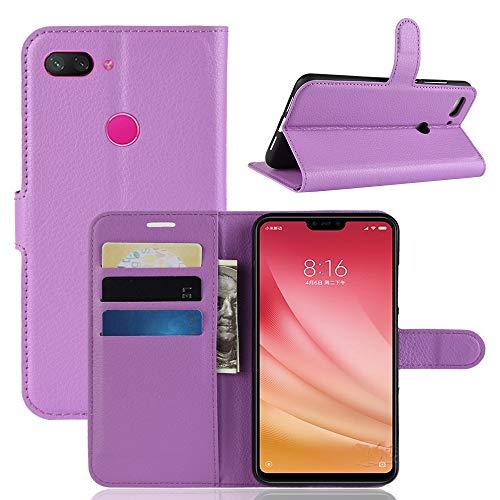 Jonmao Xiaomi Mi8 Youth / Mi8 Lite Hülle, Lila Wallet Handyhülle Qualität Magnetic Flip PU Leder Stand Schutzhülle für Xiaomi Mi8 Youth / Mi8 Lite