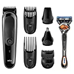 Braun MGK3060 Multi Grooming Kit - 8-in-one beard and hair trimming kit - with nose and precision trimmer attachments and Gillette Fusion ProGlide Razor