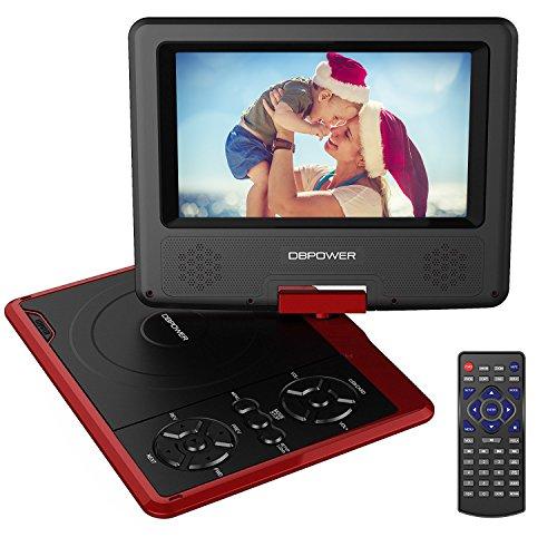 DBPOWER 7.5'' Tragbarer DVD-Player, 5 Stunden Akku, schwenkbaren Bildschirm, unterstützt SD-Karte und USB, mit Spiele-Joystick, Auto-Ladegerät--Rot