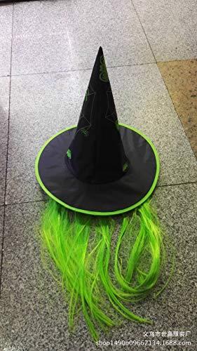 Bestoyard halloween cappello strega vestire cappello parrucca cappelli puntelli trucco per festa in maschera festa mascherata (verde)