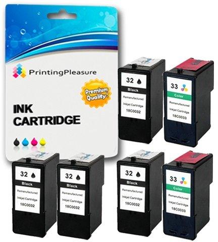 6 Tintenpatronen kompatibel zu Lexmark 32 33 für Lexmark X5470 P4330 P4350 P450 P6250 P6350 P915 X3330 X3350 X5250 X5270 X5450 X7170 Z800 Z805 Z815 Z816 - Schwarz/Color, hohe Kapazität (Für X5470 Tintenpatronen Lexmark)