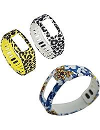 Recambio DareTang bandas para Garmin Vivofit actividad pulsera pulsera inteligente, 3piezas por paquete, color S, tamaño Purple / gray / cyan dots