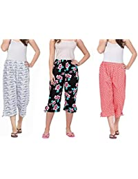 Nasheeza® Capri for Women Cotton, Night Pyjamas for Women, Capri for Women, Nightwear Capri for Women, Printed 3/4 Pyjama(Pack of 3Pcs), Prints May Vary (Assorted Capri), Save Upto Rs.400 /-