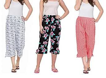 Nasheeza Women's Cotton Crush Printed Pajama (Pack of 3)
