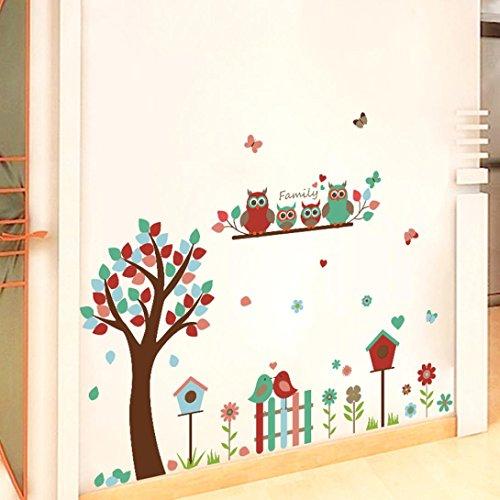 FNKDOR Abnehmbare Kunst Vinyl Zitat WandSticker Kunst Dekoration Fröhliche Vögel Baum Kinderzimmer Deko