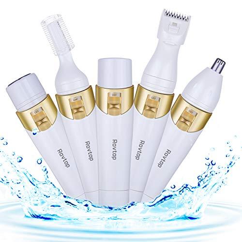 Rovtop 4-In-1 Rasierer Damen Elektrisch, Wasserdicht Damenrasierer, USB Wiederaufladbar, 4 Funktion: Haarentferner Gesicht, Nasentrimmer, Augenbrauen Rasier, Beinhaar Epilierer -
