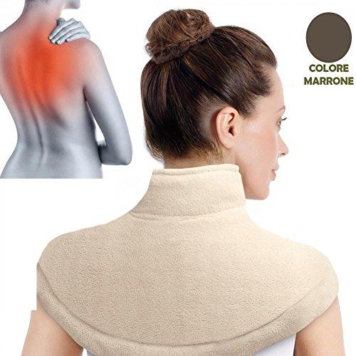 Scaldaspalle Cuscino Termico Elettrico Termoforo Cervicale e Spalle Extralarge in Morbido Tessuto Colore Marrone