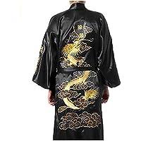 52bee5b0acf Bon amixyl Men s Dressing Gown Bathrobe Satin Silk Bath Robe Kimono Gown  Dragon Embroidery Yukata Hakma