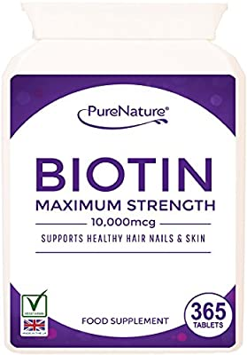 "Biotin Hair Growth Stronger & Thicker Hair 365 Tablets (Full 12 Month Supply) 10,000mcg Double Strength Vitamin B7 Easy to Swallow For Hair Loss & Supports the Growth & Maintenance of Healthy Hair Nails & Skin for Women and Men. PureNature Rated ""BEST BUY"