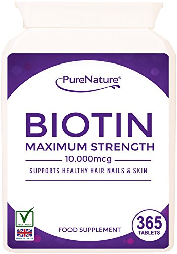 365 Meilleure Qualité Force maximale 10,000mcg biotine | 12 mois d'approvisionnement facile à avaler pour la croissance des cheveux en bonne santé Nails & Skin Convient aux végétariens Livraison GRATUITE