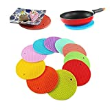 #2: LUKZER (4 Pcs Set) Round Shape Silica Gel Anti Hot Heat Resistant Pot Holder Disc Pads Car Dashboard Anti-Slip-resistant Pad Dining Table Mat Placemat Coasters (Assorted Colors)