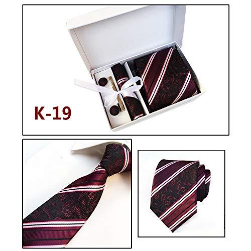 SHENGNONG Herren Krawatten-Set aus Polyester-Seide mit quadratischen Schal Manschettenknöpfen Krawattenklammer Geschenkbox -