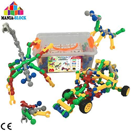 Blocchi costruzioni creativi │ 160 pezzi (bastoncini con mascella e giunto sferico + ruote per auto) + scatola di immagazzinamento | Giochi di ingegneria per ragazzi e ragazze di 6 7 8 9 10+ anni