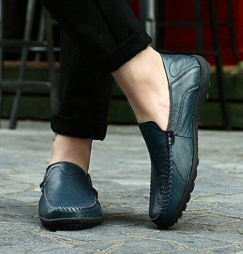 SK Studio Herren Handgefertigt Mokassin Schuhe Freizeit Atmungsaktiv Slipper Leder Fahren Schuhe Loafers Halbschuhe Grün